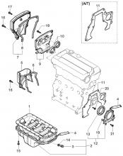 Масляный поддон и крышка привода ГРМ