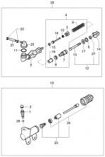 Рабочий и главный цилиндры гидропривода сцепления