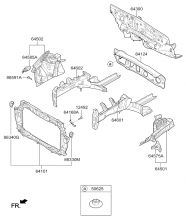 Подкрылок и панель крепления радиатора